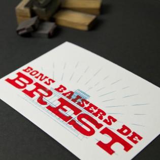 Carte Letterpress Bons baisers de Brest