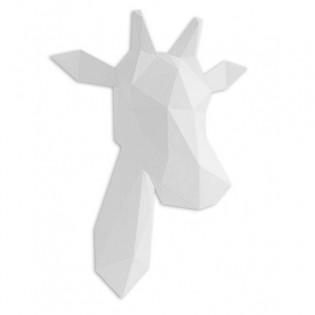 Kit de pliage papier trophée girafe blanc - Trophée assembli