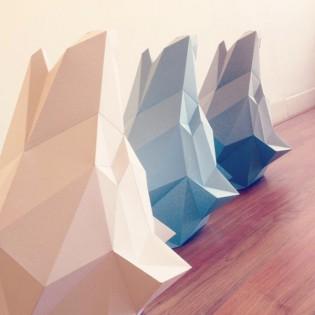 Kit de pliage papier trophée loup bleu - Trophée assembli