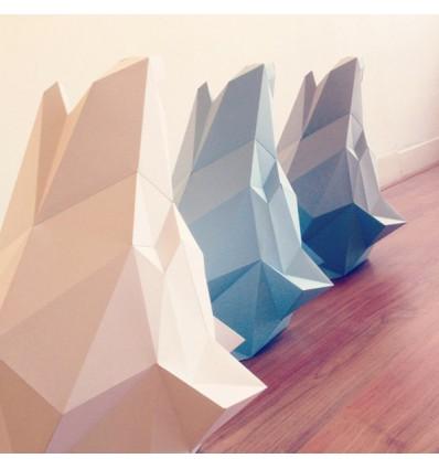 Kit de pliage papier trophée loup bleu - Assembli
