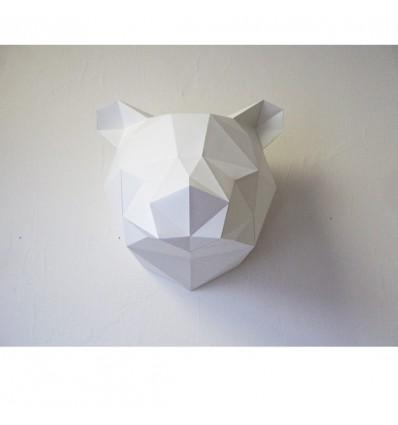 Kit de pliage papier trophée Ours blanc - Assembli