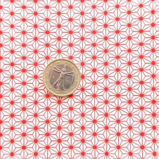 Papier japonais motif Asanoha rouge