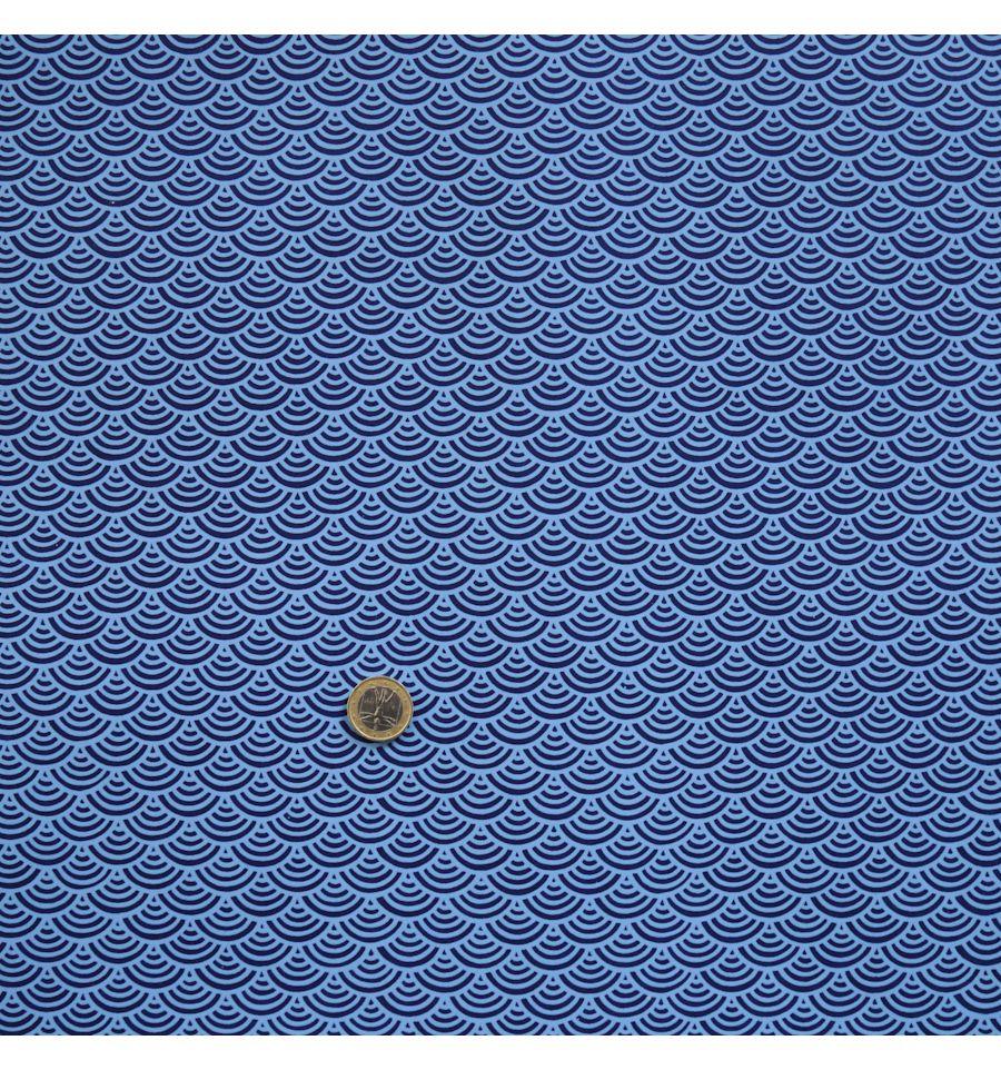 Papier Japonais Motif Vagues Fond Bleu Marine
