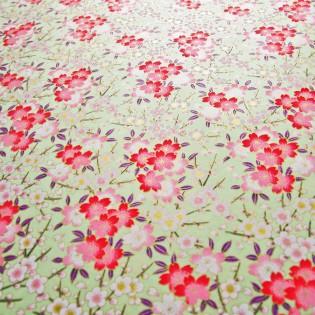 Papier japonais fleurs de cerisiers fond amande