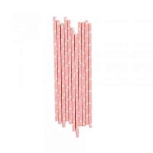 25 pailles en papier étoiles roses poudrées My little day