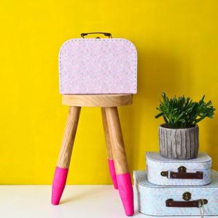 Valisette en carton fleurie rose (M)