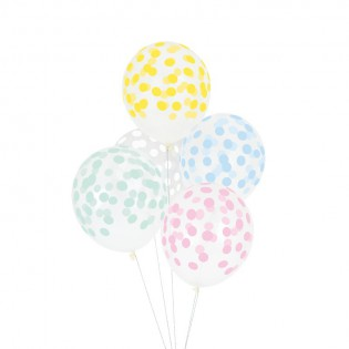 5 ballons confettis pastel